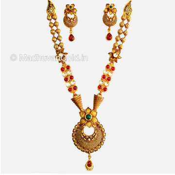 22K Gold Antique Long Necklace With Earrings