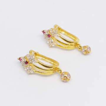 18 KT 750 Gold Earring type pink Daimond Hanging l... by Zaverat
