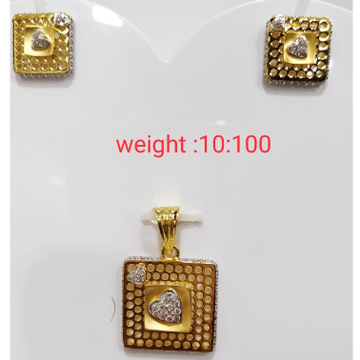 916 gold square sape pendant set by