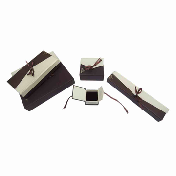 Brown cream ribbon jewellery box