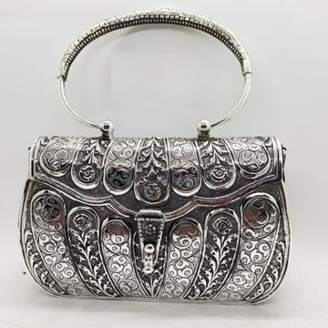 Puran Pure Silver Hand bag in Mesh Tiles Carvings