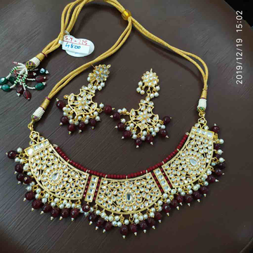 Beautiful marron and gold plated necklace set #dcns071