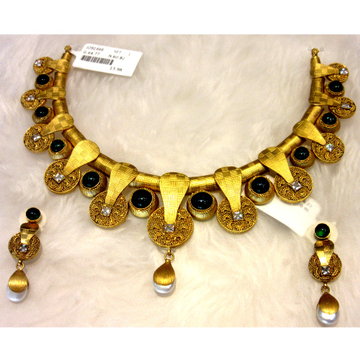 Gold 22k hm916 colorful western designer necklace... by