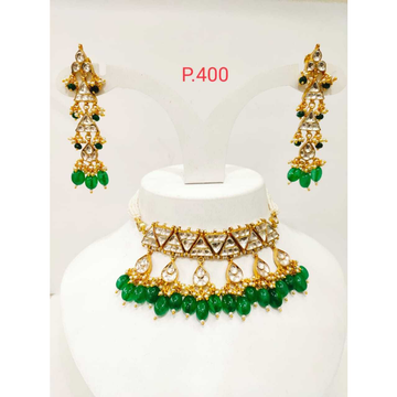 Emerald green wedding kundan chokar set 1189