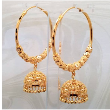 22kt, 916 Hm, Yellow Gold hoop round balls With Jummar Jke104.