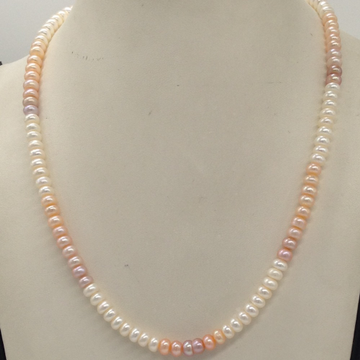 Freshwater Multicoloured Shaded Flat Pearls Single Layer Mala  JPM0320