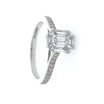 18kt / 750 White Gold Classic Emerald Cut Solitaire Diamond Ring for Ladies 9LR323