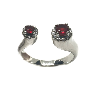 925 Sterling Silver Red Stone Ring MGA - LRS0054