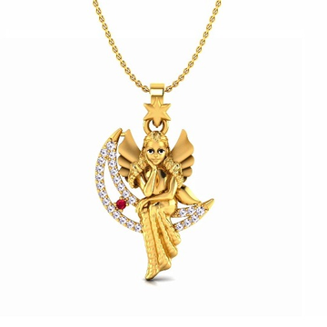 916 Gold CZ Angel and Crescent Moon Pendant Chain... by S. O. Gold Private Limited