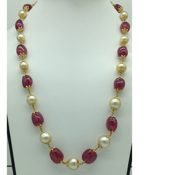 Sea Water Round Pearls with Ruby AwejaGold Taar N...