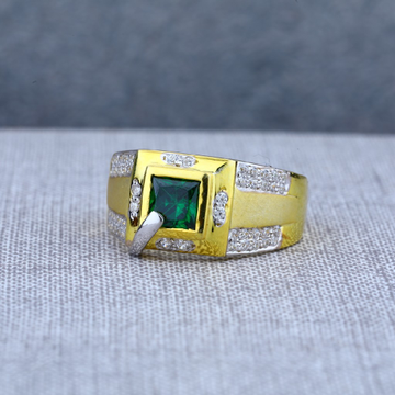 Mens Modern Solitaire Gold 22ct Ring-MSR59