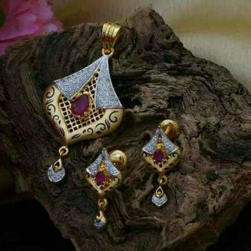 Attractive Ruby pendent set 916