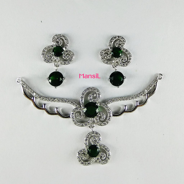 92.5 sterling silver cz stone mangalsutra p.setML-94
