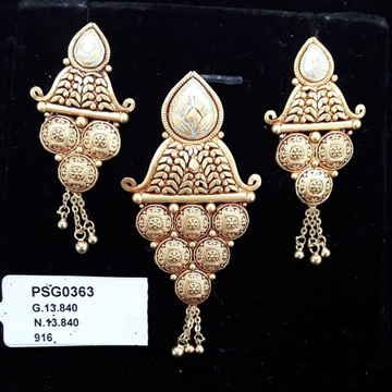 22KT Yellow Gold Extremely Pretty Kalkati Pendent set For Women