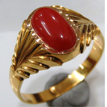 22kt gold close setting coral gents ring HGSR-002