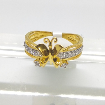 22K butterfly shaped diamond ring