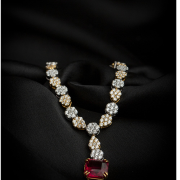 designer diamond necklace with the beautiful touch of stone