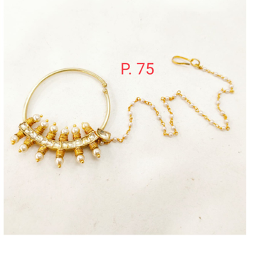 Gold plated stone & Pearl nose ring with Pearl chain 1739