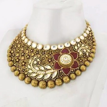 916 gold antique bridal choker set aj - n001