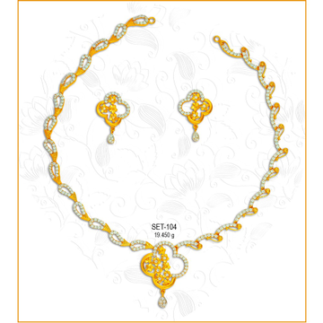 916 Gold Designer CZ Necklace Set-104