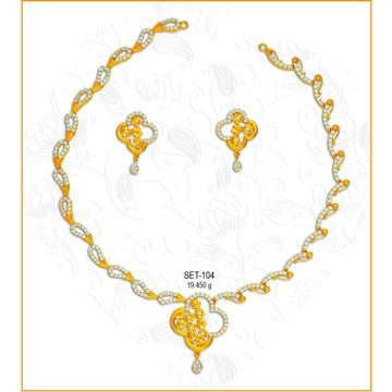 916 Gold Designer CZ Necklace Set-104