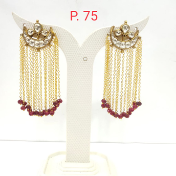 Fancy Gold Plated Long Earring with Red Hanging pearl 1511
