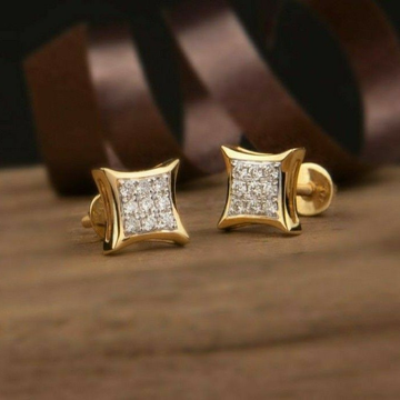 18KT Yellow gold fancy casual ware square earrings... by