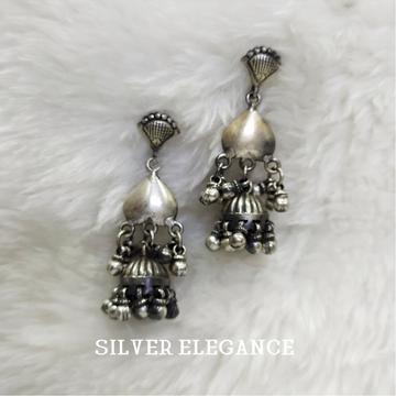 Silver stylish latkan ghughari earring se-e006