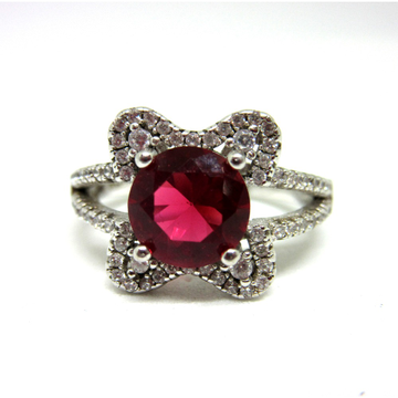 Silver 925 dark pink stone ring sr925-78