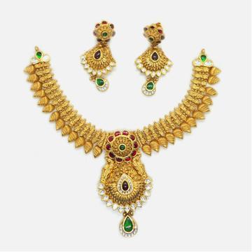 916 Gold Antique Bridal Necklace Set RHJ-6030