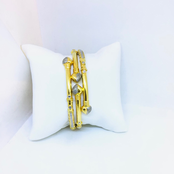 FANCY GOLD COPPER KADA BANGLES by