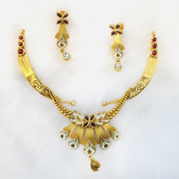 916 gold antique bridal necklace set rhj-5481