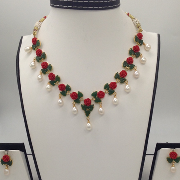Coral, Jade And Pearls Necklace Set  JNC0046
