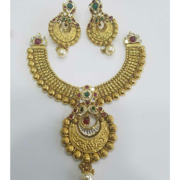 916 Gold Ladies Jadtar Antique Bridal Necklace Set
