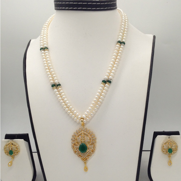 White AndGreen CZ PendentSet With 2Line FlatPearls Mala JPS0305