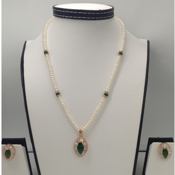 White And GreenCZ PendentSet With FlatPearls Mala JPS0134