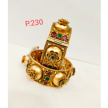 Antique gold polish kada with green and pink color stone & screw openable 1202