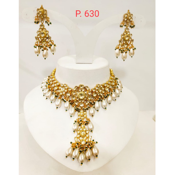 Hanging moti and black beads long  with kundan work choker necklace 1241