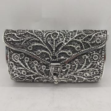 Maanniya hallmarked silver designer clutch in anti...