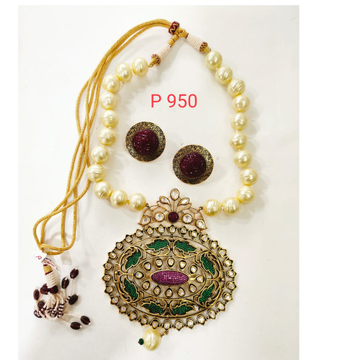 Gold Plated Ethnic kundan Design Pendant with Moti string Necklace set 1311