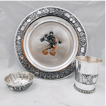 92.5 pure silver Baby Dinner set in Antique finish...