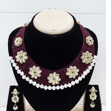 916 antique gold red & white moti jadtar set