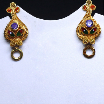 22/20 KT Gold Delicate Plain Earring For Women BTG0013