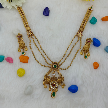 916 Gold 3Layer Design Small Necklace Set  by Ranka Jewellers