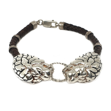 925 sterling silver lion bracelet mga - krs0081