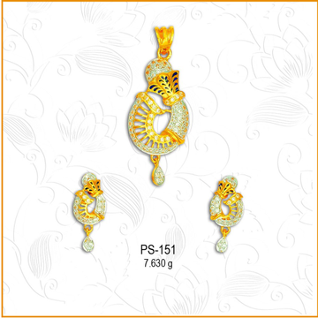 916 Gold Designer CZ Pendant Set PS-151