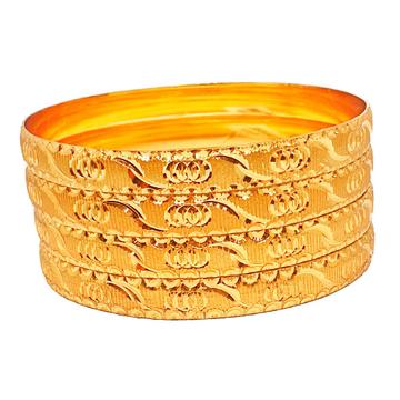 One gram gold forming 4 piece plain bangles mga - bge0445