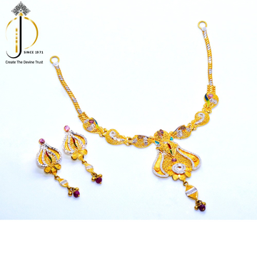 916 / 22CT Yellow Gold Fancy Special Wedding Necklace Set with earrings For Women STG0003