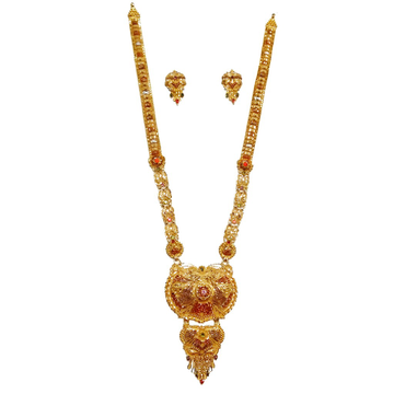 22k Gold Kalkatti Necklace With Earrings MGA - GLS048