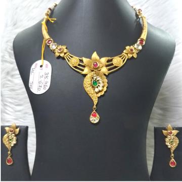 916 Gold Antique Flower Design Necklace Set